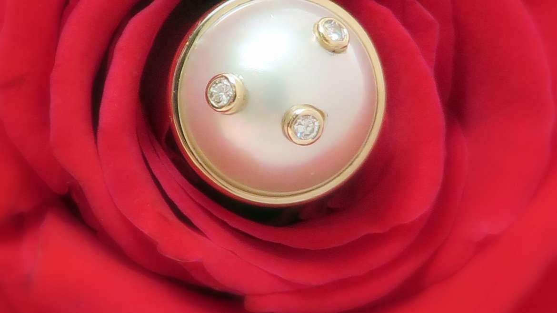 Pendentif perle et diamants