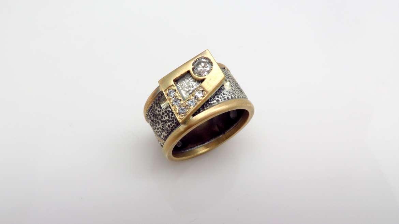 Jonc pour homme fait à la main en or jaune 10k et argent serti de diamants