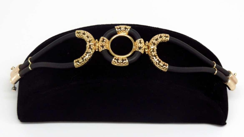 Bracelet pour femme en 18k jaune et caoutchouc