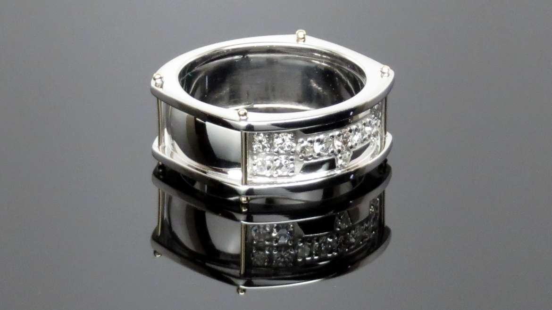 Jonc pour homme or blanc sertie de diamants
