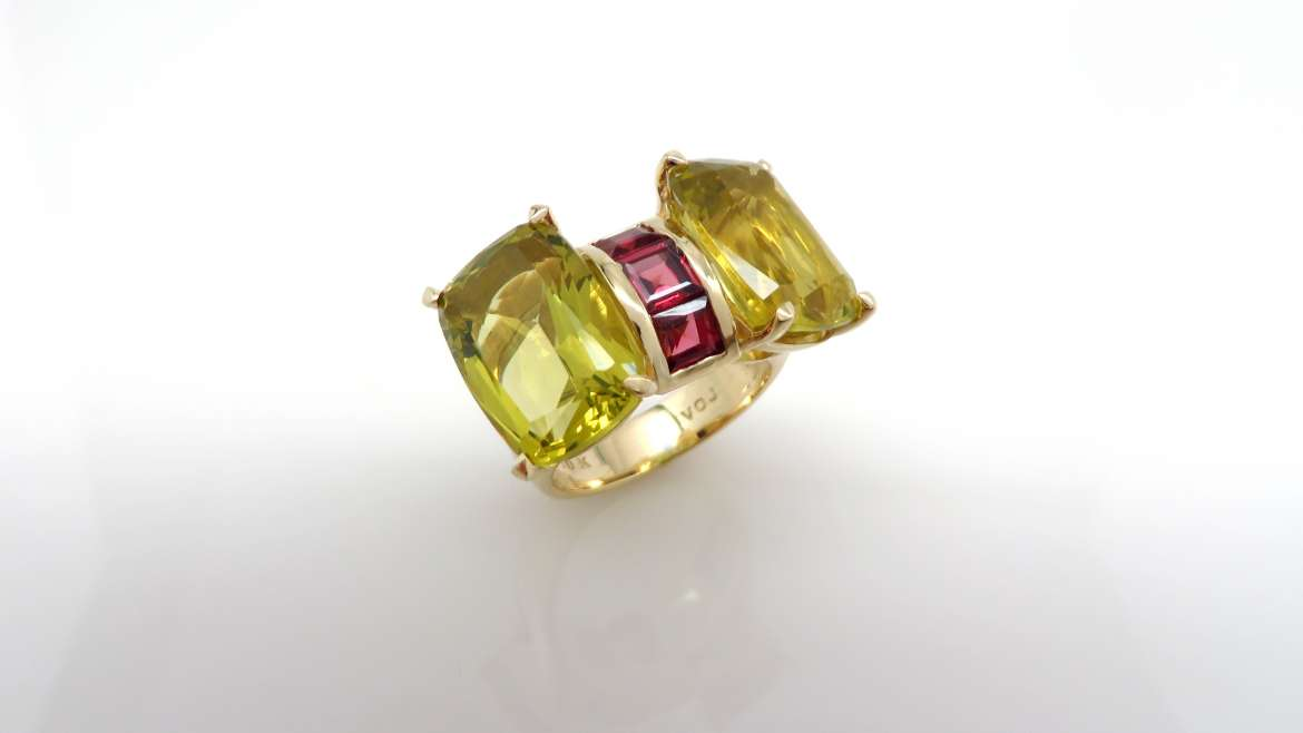Bague or jaune 10k sertis de lemon quartz et rubelites