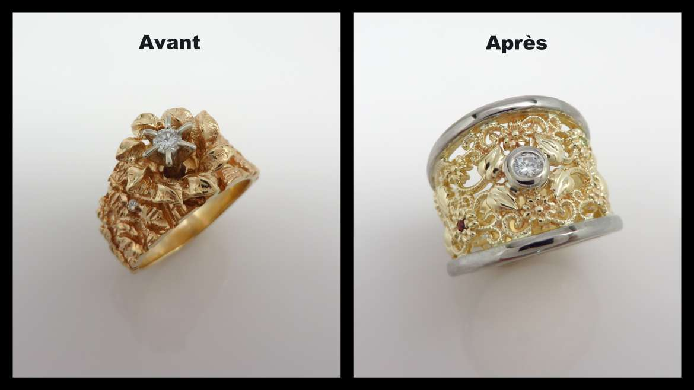 avant-après d'un jonc large 10 k jaune et blanc sertis de diamants, grenat et péridot