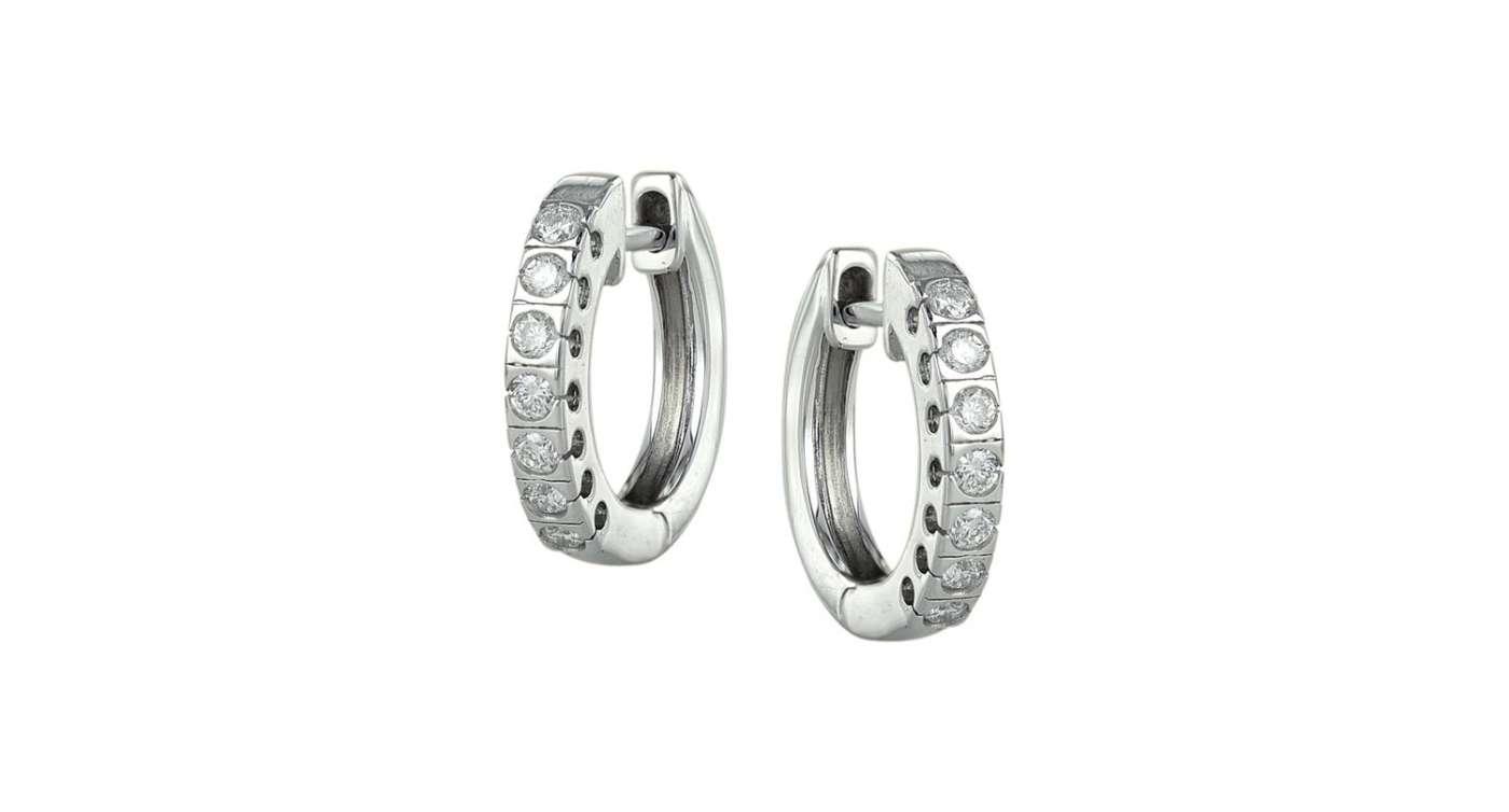ke05-29070w boucle d'oreille pour femme en or blanc 10 kt avec diamants