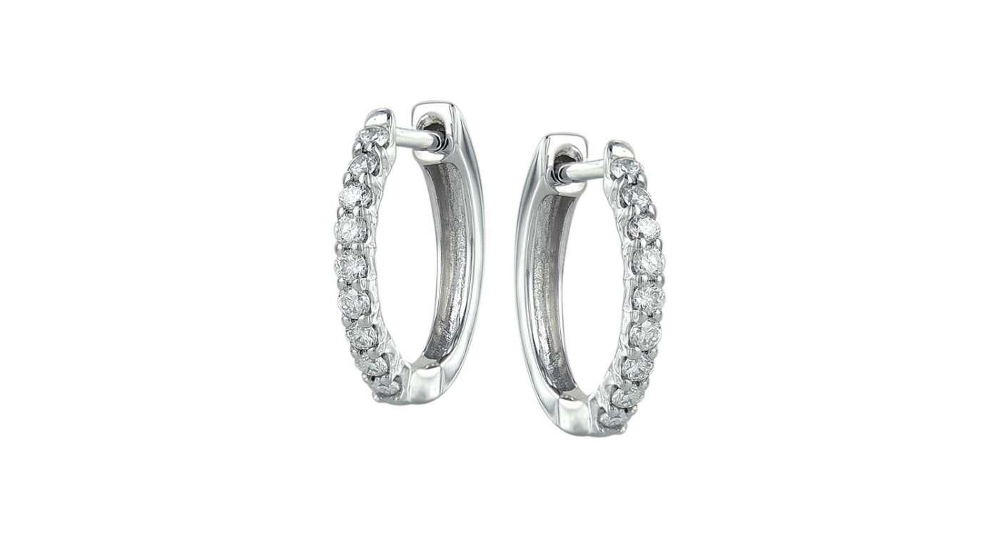 ke05-68407w boucle d'oreille pour femme, huggies 10 kt blanc avec diamants